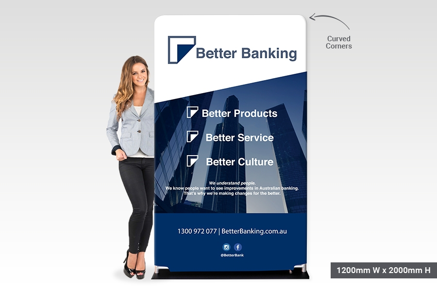 Stretch Fabric Display Stands with Curved Corners