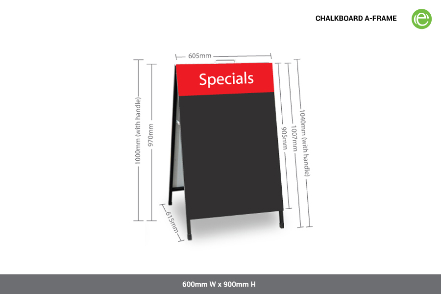 A-Frame Chalkboard with Digital Print specifications
