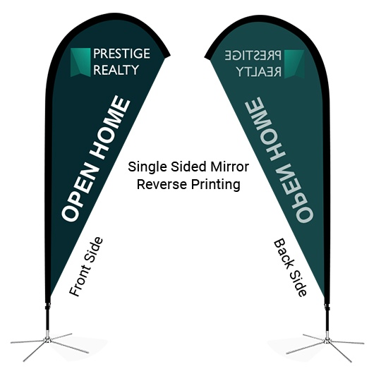 single sided mirror reverse printing teardrop flag