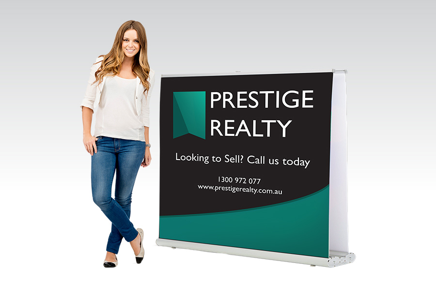 Double Sided Pull Up Banner - 1200mm W x Shopping Centre H