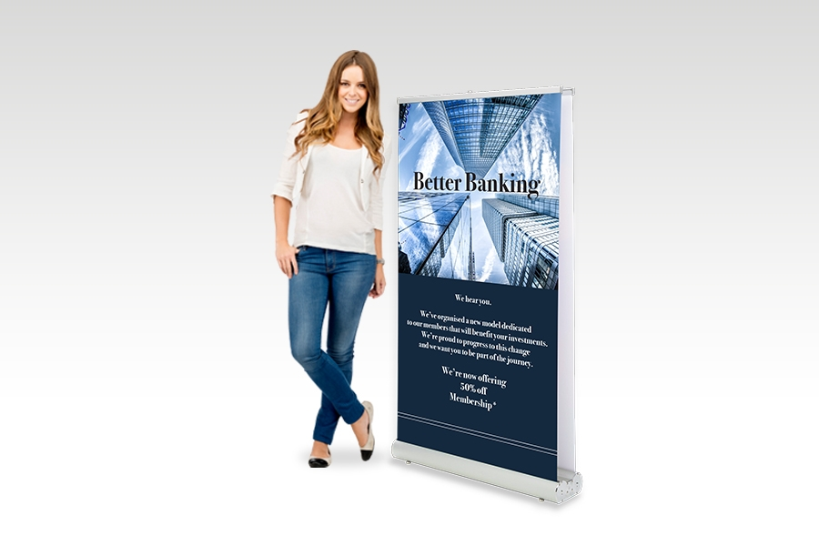Double Sided Pull Up Banner - 850mm W x 1500mm H