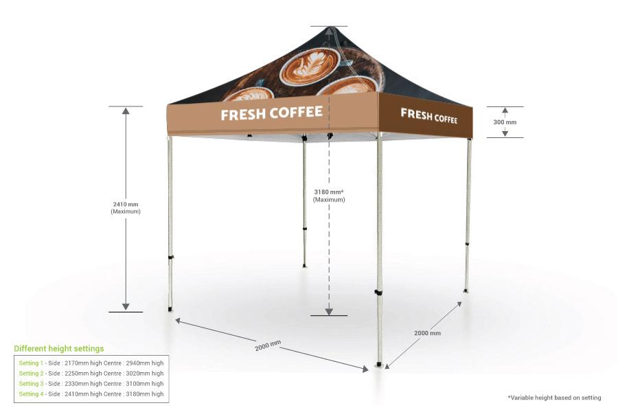 Pop Up Gazebo with Printed Canopy (2m x 2m)