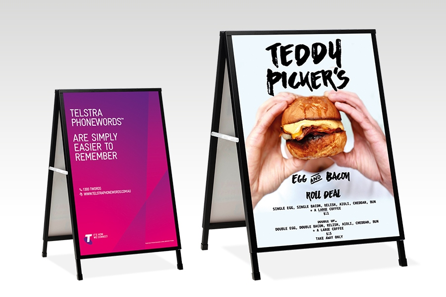 Signflute™ Insertable A-Frame Sandwich Board Size Comparison