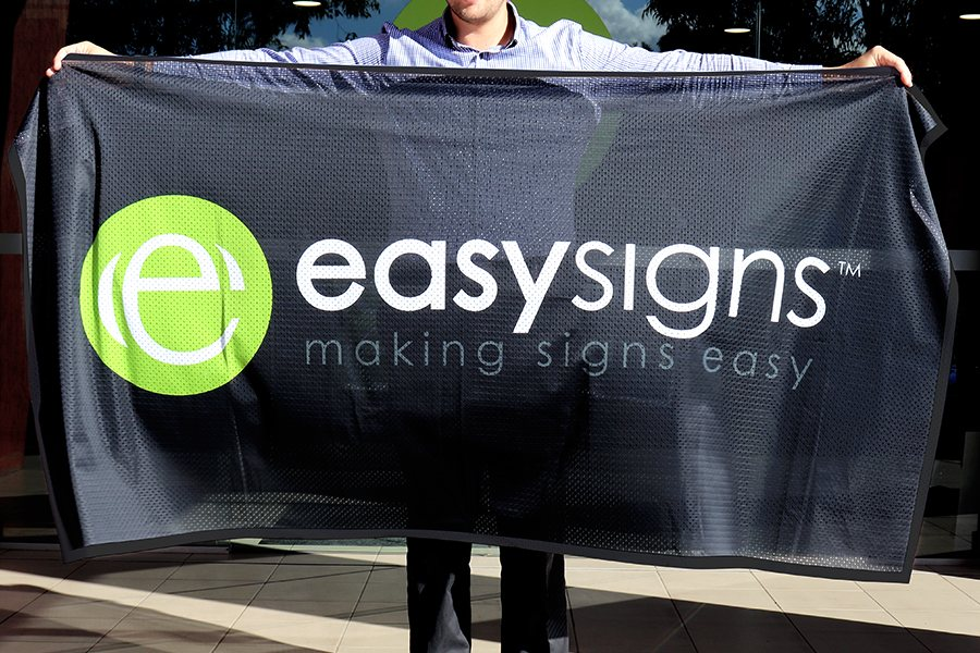 Fabric Mesh Banner with Full Colour Print finished with Hemmed Edges