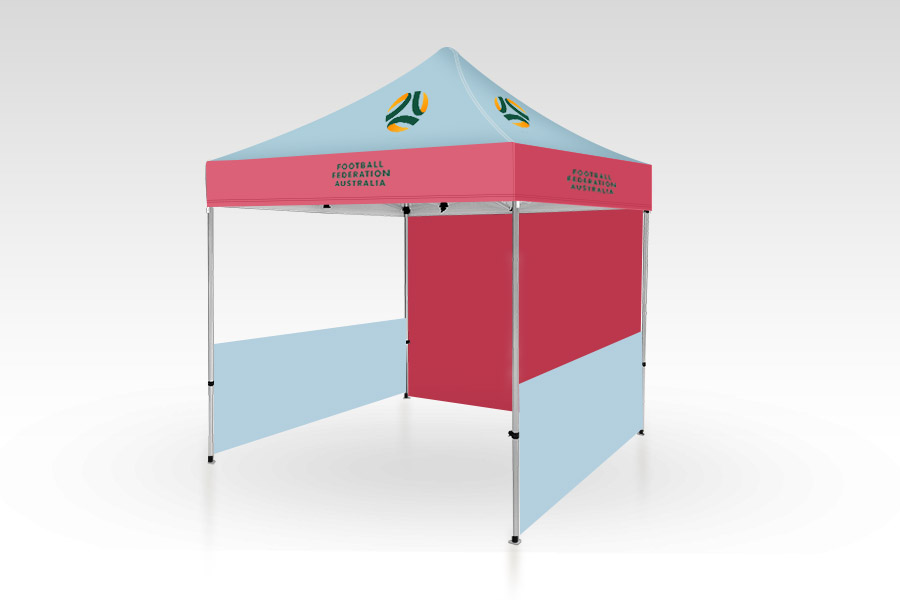 Pop Up Gazebo with Printed Canopy, Full Back and Half side walls (2m x 2m)