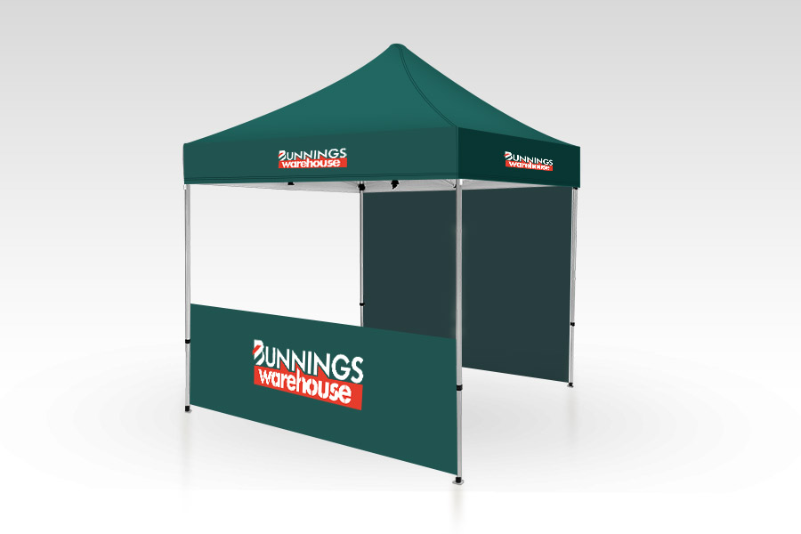 Pop Up Gazebo with Printed Canopy, Full Back and Half Front Wall (2m x 2m)