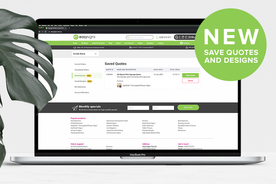 Save Quotes and Designs Online!