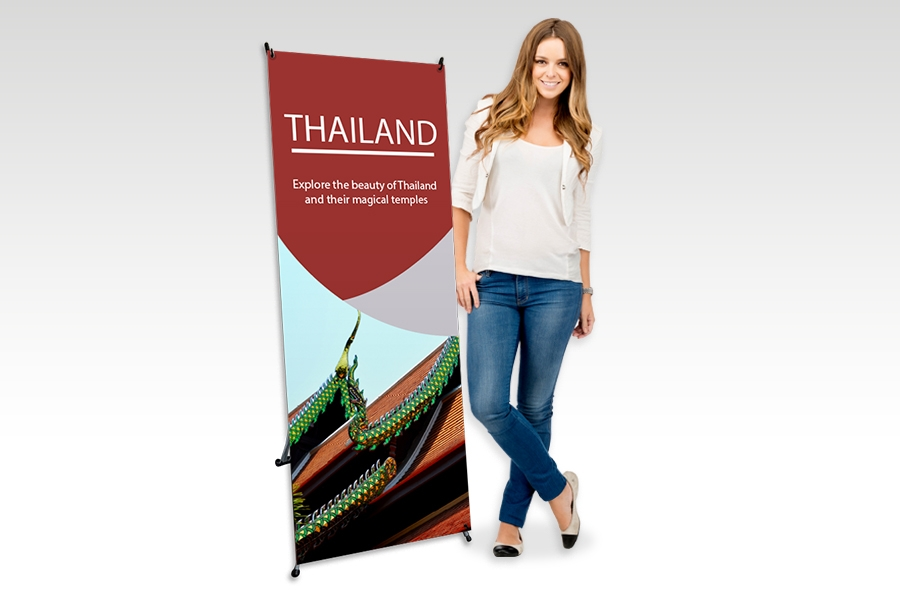 X Banner Stand with Full Colour Print for Travel Signage