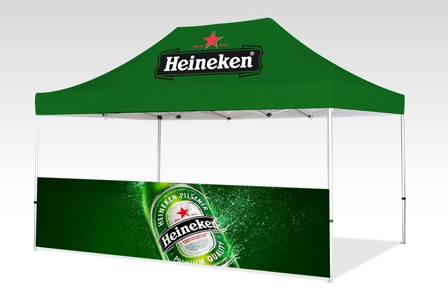 Pop Up Gazebo with Printed Canopy and Half Wall (4.5m x 3m)