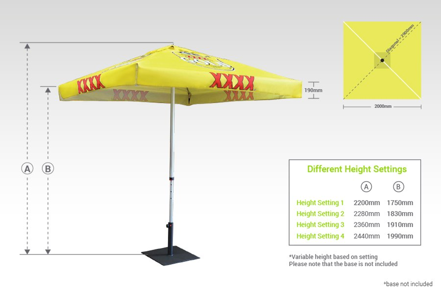 Full Colour Printed Market Umbrella Measurements