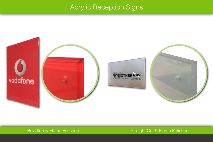 Acrylic Reception Signs - Bevelled & Flame Polished or Straight Cut & Flame Polished
